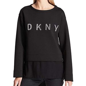 DKNY Womens Mixed Media Sequined Logo Pullover Swe